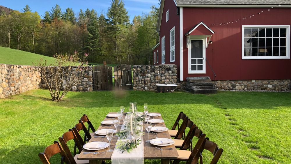 6 x farm tables and 60 x chairs available to rent through venue. $50.00/table and $4.00/chair.