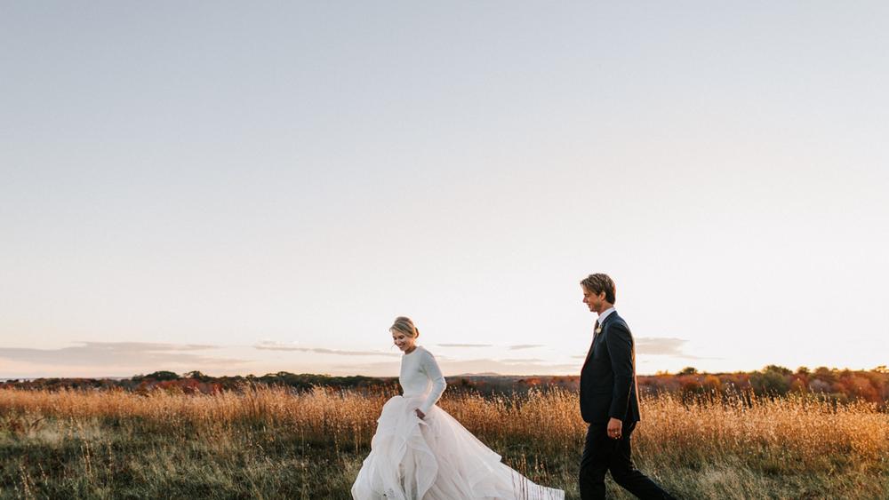 Wedding photo inspiration in the ceremony site fields   photo credit: Jamie Mercurio Photography