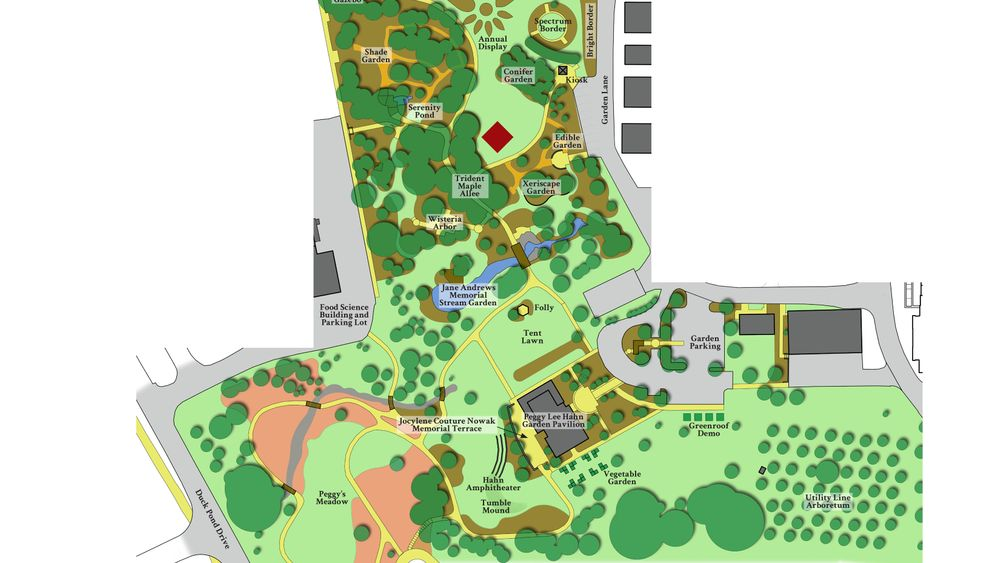 Map of the Hahn Horticulture Garden, the Red diamond marks the location where most large wedding ceremonies happen. Tents for receptions are usually set up on the tent lawn, which is just above the Peggy Lee Hahn Garden Pavilion.