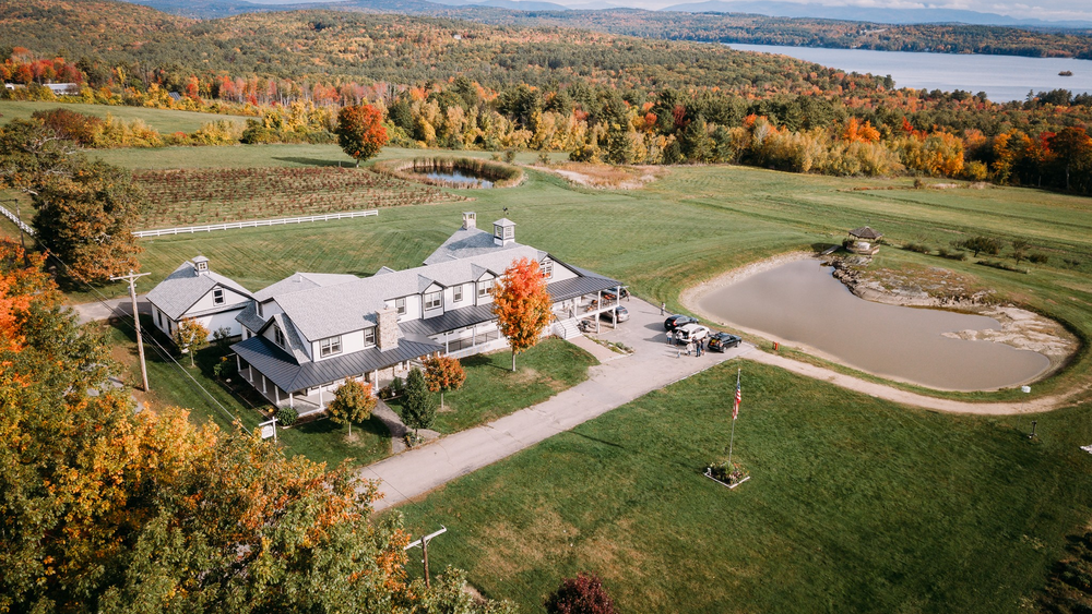 Aerial view with beautiful Fall foliage