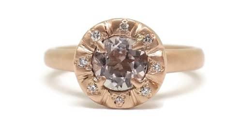 Halo Rose Tourmaline Engagement Ring