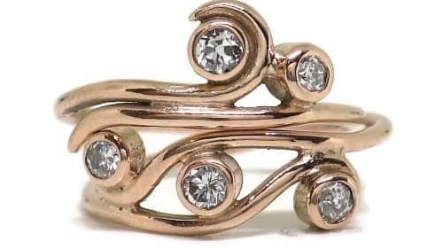 Swirl Set Stack Rose Engagement Ring