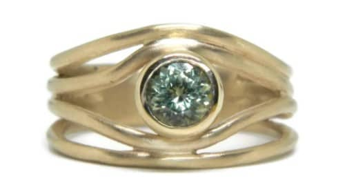 Wave Yellow Green Sapphire Engagement Ring