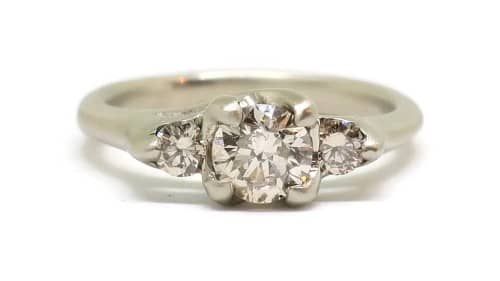 Woven 4 Stone Champagne White Engagement Ring
